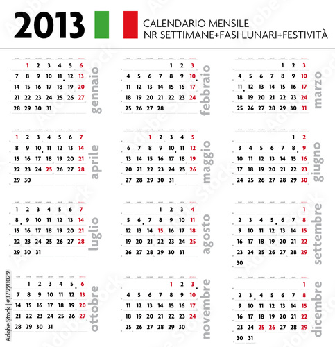 Calendario A Settimane.Calendario 2013 Ita Mensile Festivita Settimane Lune Buy