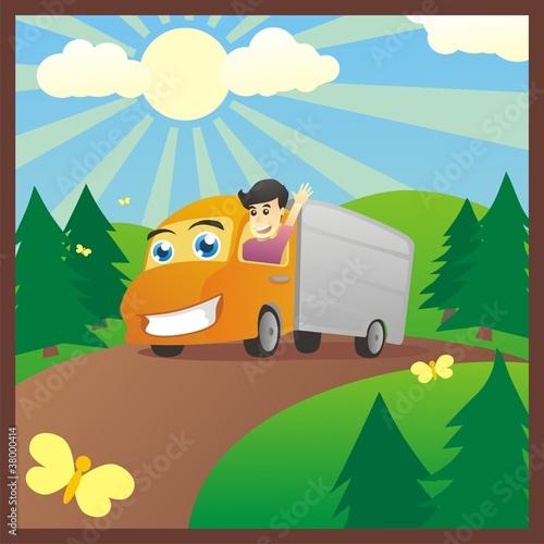 Foto op Canvas Cars Cargo Boy