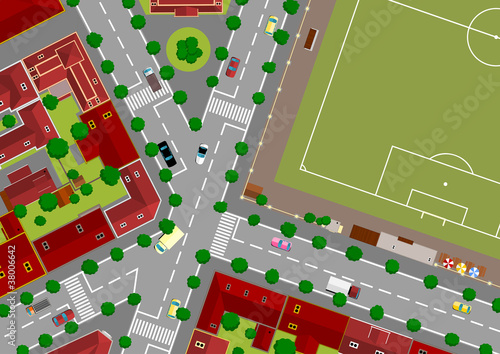Poster de jardin Route football field in town