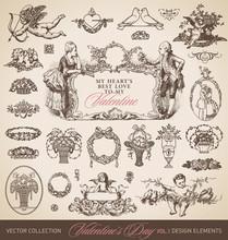 Antique Valentine's Set (vector)