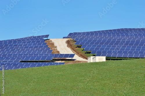 Fotografie, Obraz  Parco fotovoltaico su collina