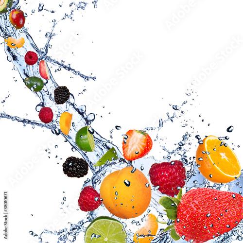 Poster Vruchten Fresh fruits falling in water splash on white background