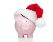 Piggy Bank With Christmas Hat ...