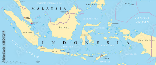 Malaysia and Indonesia political map with capitals Kuala Lumpur and Jakarta, with national borders and lakes Wallpaper Mural