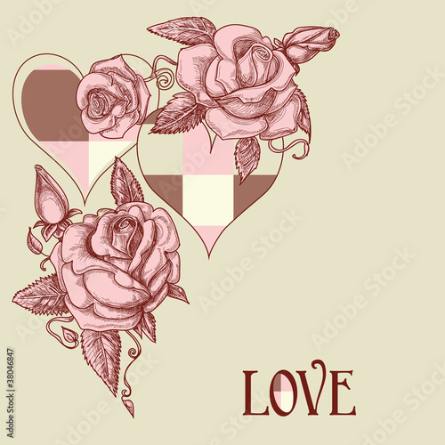 Tuinposter Abstract bloemen Roses and hearts romantic card
