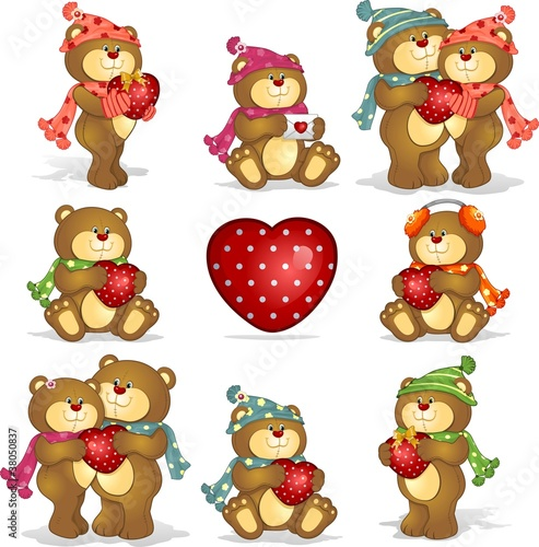 Ingelijste posters Beren Set- teddy bears heart
