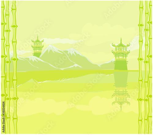 Fotobehang Zwavel geel old paper with Asian Landscape
