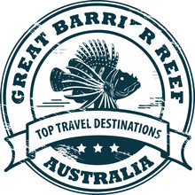 Stamp With Fish And Text Great Barrier Reef, Vector