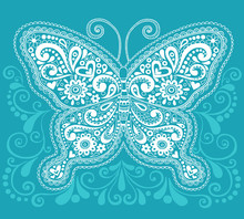 Butterfly Henna Paisley Doodle Vector Illustration