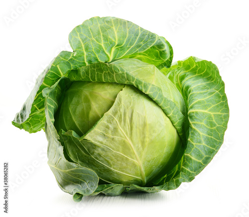 Obraz Raw cabbage isolated on white - fototapety do salonu