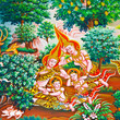 Buddhist art paint style in public temple of thailand