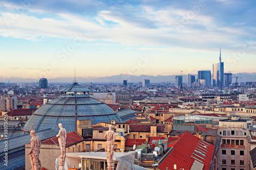 """Garden Poster Milan Milan skyline from (""""Duomo di Milano""""). Italy."""