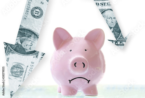 frowning pink piggy bank with downward pointing dollar arrows Poster