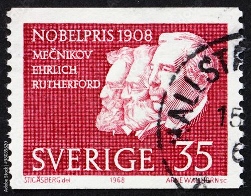 Fotografie, Obraz  Postage stamp Sweden 1968 Metchnikoff, Ehrlich and Rutherford