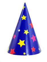 Blauer Partyhut Mit Gelbe Und Rote Sterne Freigestellt Auf Weißem Hintergrund