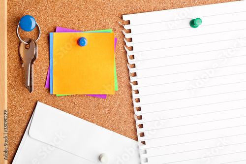 Fotografie, Obraz  Cork board with empty notes and paper