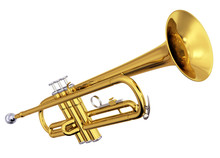 Brass Trumpet On White Backgro...
