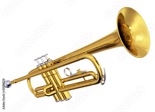 Photo  Brass trumpet on white background