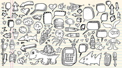 Fototapeta  Doodle Sketch Design Elements Mega Vector set
