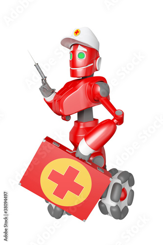 Fotografie, Obraz  The red robot with a medical bag in hand