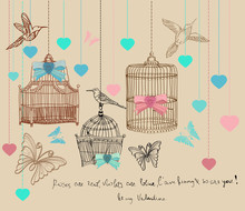 Valentine Background With Cage...