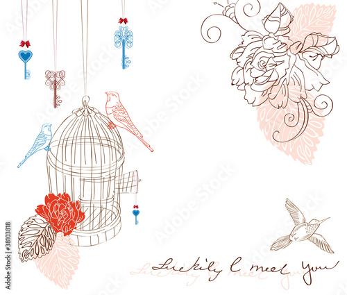 In de dag Vogels in kooien Valentine light background