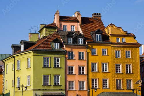 Photo Stands Colorful old buildings in Warsaw, Poland