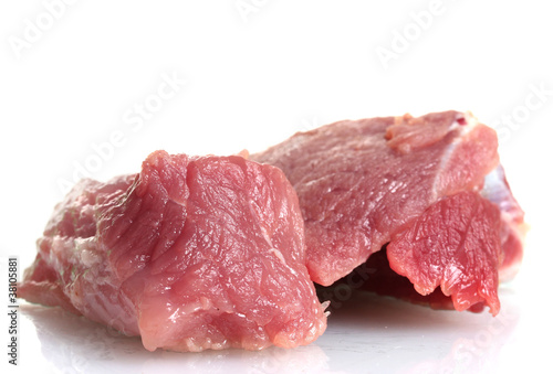 Keuken foto achterwand Vlees Pieces of raw meat isolated on white