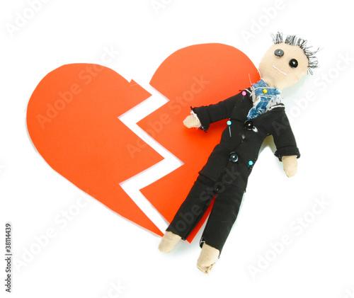 Fotografie, Obraz  Voodoo doll boy-groom on the broken heart isolated on white