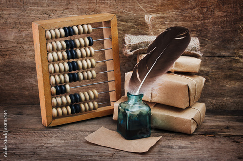 Still Life in a warehouse with  abacus Canvas Print
