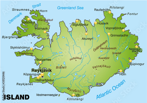Landkarte Von Island Buy This Stock Vector And Explore Similar