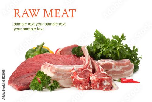 Staande foto Vlees raw meat assortment