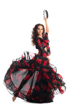 Young Woman Dance In Gypsy Wit...