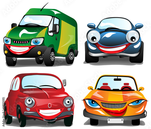 Keuken foto achterwand Cartoon cars Smiling Colorfull Cars