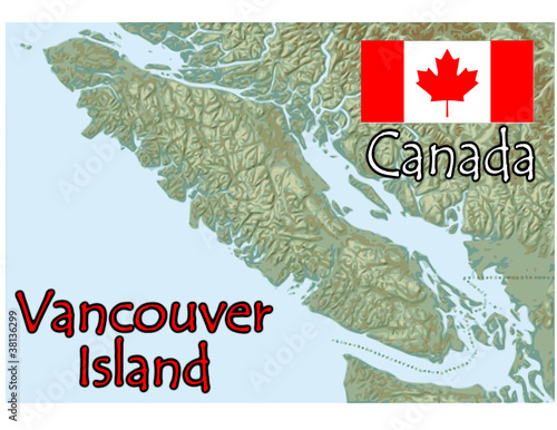 Vancouver Island Canada Map Flag Emblem Buy This Stock Vector And