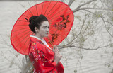 Geisha with red umbrella