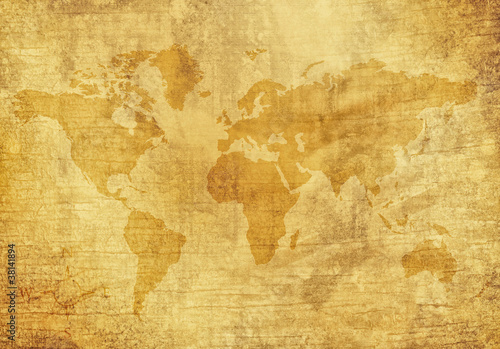 Foto op Canvas Wereldkaart Old World Map