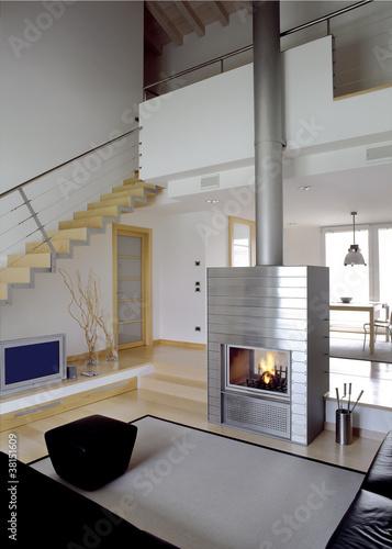 soggiorno moderno con camino - Buy this stock photo and explore ...