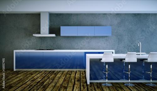 Kuchendesign Kuche Im Loft Blau Weiss Buy This Stock Photo And