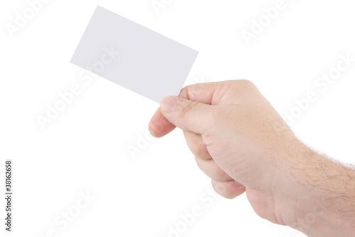 Main Avec Carte De Visite Vierge Sur Fond Blanc