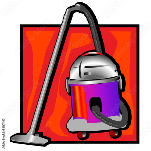 retro vacuum cleaner clip art Canvas Print