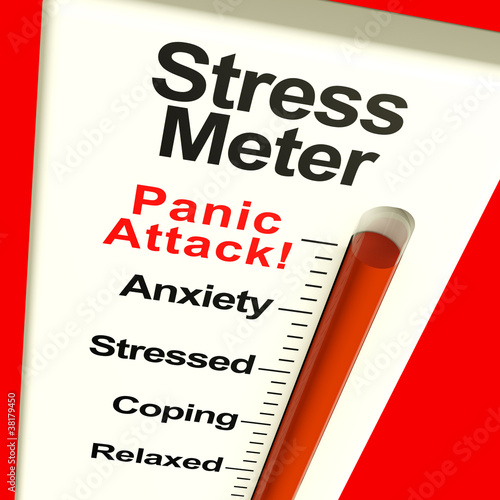 Fotografía  Stress Meter Showing  Panic Attack From Stress Or Worry