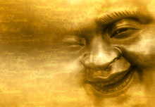 Happy Buddha - Shanti Hintergrund Gold