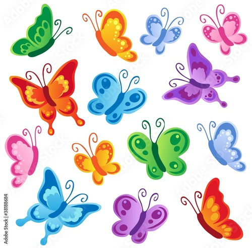 Door stickers Butterflies Various butterflies collection 1