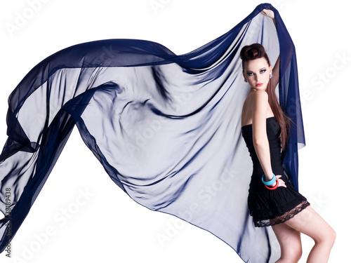 Obraz na plátně Glamour model with chiffon