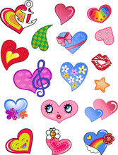 A Set Of Comic Hearts