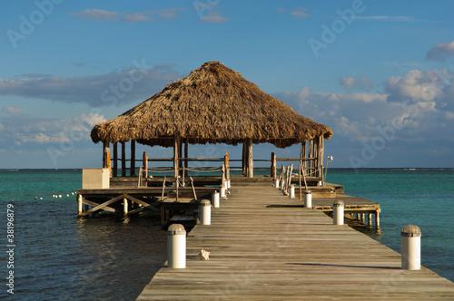 In de dag Ochtendgloren Beach Deck with Palapa floating in the water