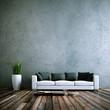 Leinwanddruck Bild - Wohndesign - Sofa weiss vor Betonwand