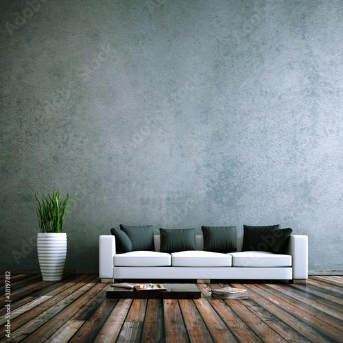 Foto  Wohndesign - Sofa weiss vor Betonwand