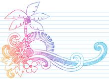 Summer Beach Tropical Island Sketchy Doodle